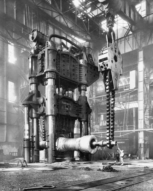 Forging press in the Krupp Factory, Essen, Germany, 1928